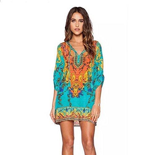 robe style femmes une bohme Vintage d't ethnique Dayumoo Couleur imprime fYqtpww