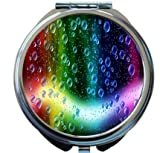 Rikki Knight Cheerful Colors Of Raindrops On The Window Design Round Compact Mirror