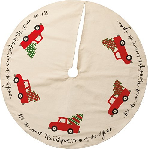 Cotton Christmas Ornaments - Primitives By Kathy 36 Inches Diameter Cotton Tree Skirt Truck Decorative Ornaments