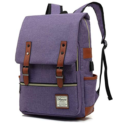 Mancio Slim Laptop Backpack with USB Charging Port,Vintage Tear Resistant Business Bag for...