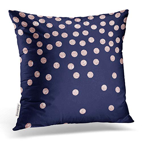 Emvency Throw Pillow Cover Girly Rose Gold Glitter Confetti Polka Dots Decorative Pillow Case Navy Home Decor Square 18 x 18 Inch Cushion Pillowcase