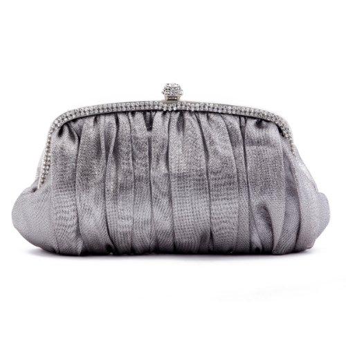 Grey Sleek Womens Evening Crystal Glitter Clutch bags Frame Damara HPqgw88