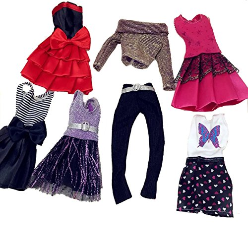 MLANLAN Barbie Doll Dress Clothes Set Party Gown Outfits for Girl Birthday Gift Xmas Gift, 6 Pack