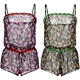 Curve Muse Womens One Piece Romper Short Jumpsuit Sleeveless Casual Pajamas-2pk-Green-Pink-S