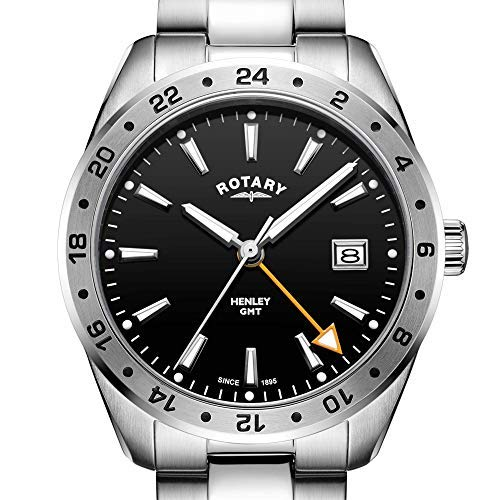 Rotary Men's Watch GMT Henley Silver Stainless Steel 40mm Black Dial GB05295/04
