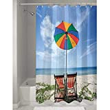 DouglasHill Seaside Nice Polyester Shower Curtain Pair of Chairs and Colorful Umbrella on