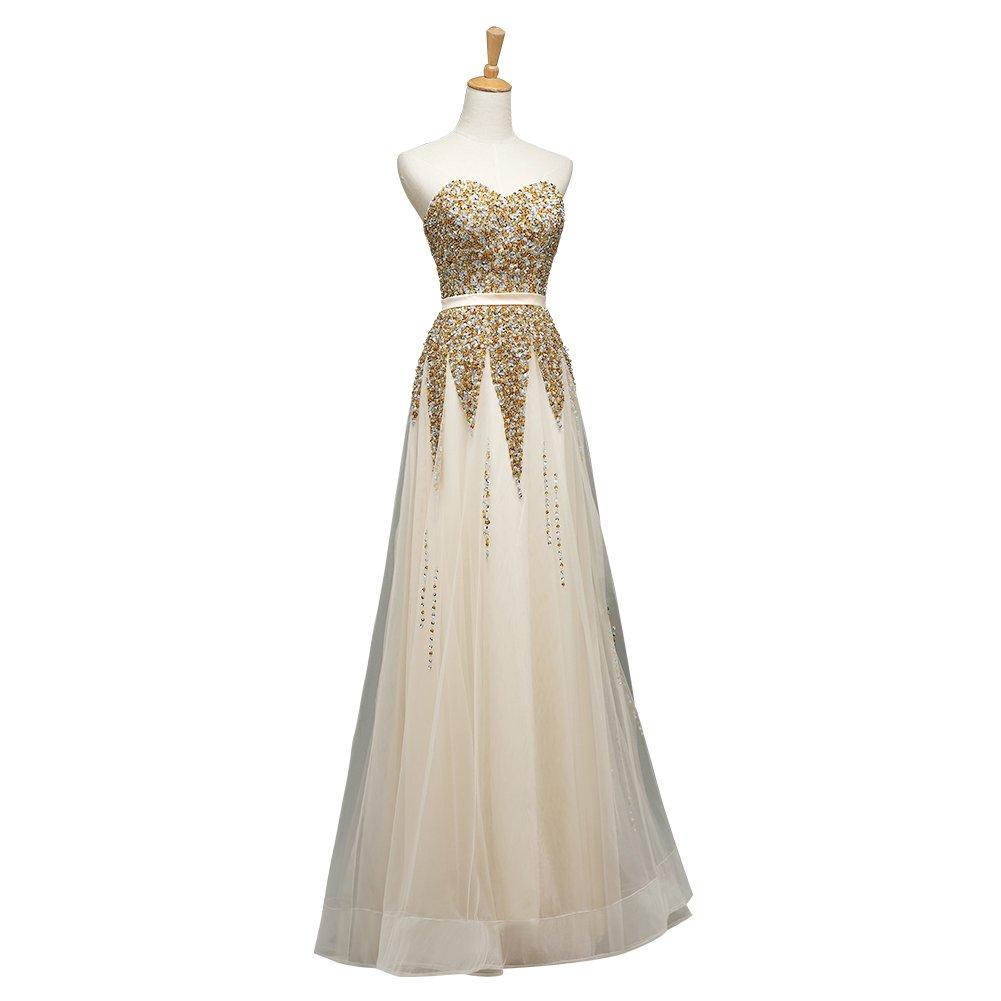gold Lafinebride Women's Elegant Strapless Crystal Prom Gown Evening Dress