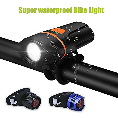 WU-MINGLU Bike Light Bicycle Headlight Set, IP64 1100 Lumens Waterproof USB Rechargeable LED Bike Lights, Tail Light for MTB, Road Cycling, Safety Flashlight for Woman Men