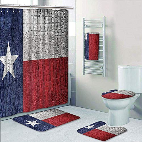 Bathroom 5 Piece Set Shower Curtain 3D Print Customized,Western Decor,Texas State Flag Painted on Luxury Crocodile Snake Skin Texture Looking Patriotic Emblem Decorative,Graph Customizati]()