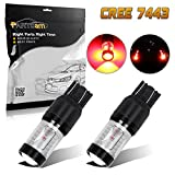 mazda rx8 stop light - Partsam 7443 7444NA High Mount Stop Light Lamps 6-Cree-XBD Red 30W Super Power LED Projector Lens for MAZDA RX-8