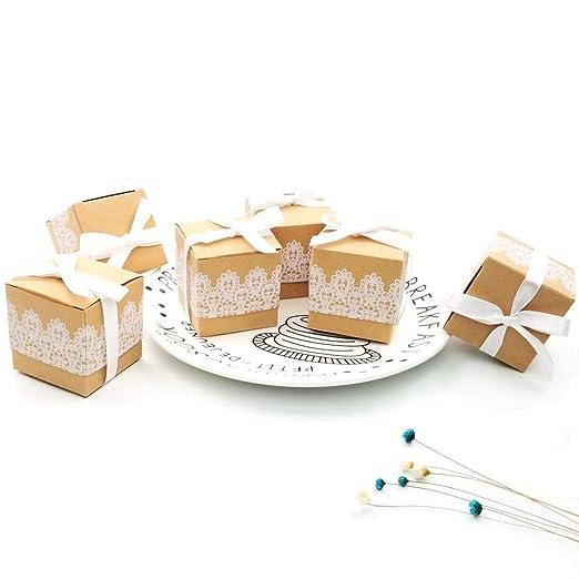 Amazon.com: JZK 50 cajas de regalo de papel kraft de encaje ...