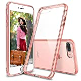iPhone 7 Plus Case/iPhone 8 Plus Case, Egotude Hard PC Back Soft Silicone Bumper Cover Cases for Apple iPhone 7 Plus & iPhone 8 Plus 5.5' (Rose Transparent)