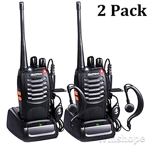 Baofeng BF-888s Walkie Talkies Long Range Radios with Earpiece Mic UHF Radios 5W Two Way Radio Handheld 2 Way Radio Ham Transceiver with Antenna Headsets Microphone (2 Pack)