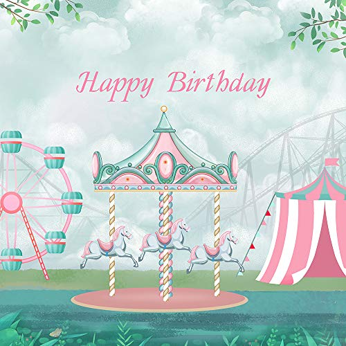 HUAYI 5x5ft Mint Green Pink Carousel Birthday Backdrop Dessert Table Decor Photography Background Circus Carnival Birthday Party Baby Shower Vinyl Backdrop for Children Kids Photocall Props W-1890