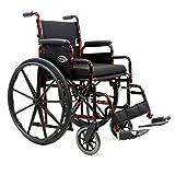 Karman Healthcare Wheelchair Lightweight Removable Arm 18-Inch x16-Inch with Elevating Legrest, Red Streak, (LT-770Q-E)