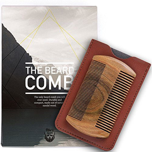 Premium Wooden Beard Comb - Natural Sandalwood No Static Handmade Comb - Fine & Coarse Tooth Perfect for Balms and Oils - Includes PU Leather Case - Presented in Cardboard Gift Box - 2 Years Warranty