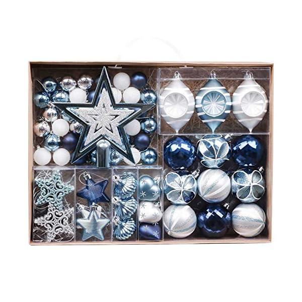 Valery Madelyn Palle di Natale 70 Pezzi di Palline di Natale, 3-10 cm Auguri Invernali Argento e Blu Infrangibili Palle di Natale Ornamenti Decorazione per la Decorazione Dell'Albero di Natale 1 spesavip