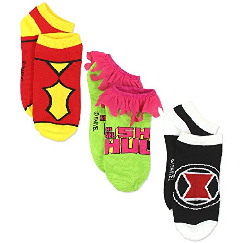 Marvel Comics Superhero Womens Novelty Costume 3 pack Low Rise Socks (9-11 / Shoe: 4-10, (Tween Captain America Costumes)