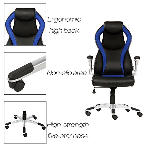 ... Racing SEATZONE High Back Executive Swivel Office Chair, Adjustable  Gaming Chair With Folding Armrest, ...