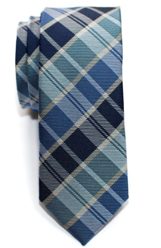 Retreez Modern Tartan Plaid Check Styles Woven Microfiber Skinny Tie - Blue
