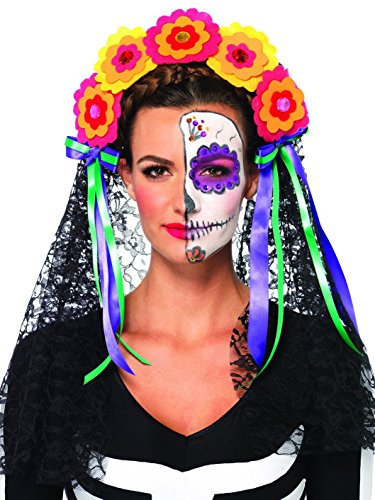 Leg Avenue Women's Day Of The Dead Flower Headband with Lace Veil Costume Accessory, Multicolor, One (Day Of Dead Costume Party City)