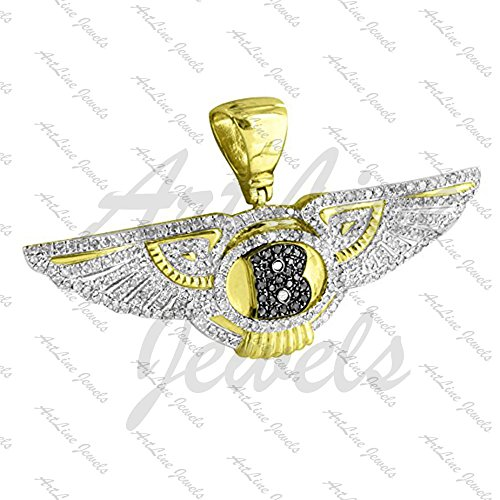 ArtLine Jewels Round Cut Black & White Diamond 14k Yellow Gold Plated Bentley Logo Pendant With - Gold Plated Bentley