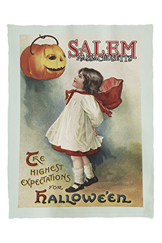 Salem, Massachusetts - Halloween Greeting - Girl in Red and White - Vintage Artwork 56422 (60x80 Poly Fleece Thick Plush Blanket)]()