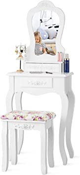Giantex Vanity Set With 3 Drawers And Cushioned Stool Makeup Dressing Table For Bathroom Bedroom Small Space Vanity Table And Bench For Kids Girls Women Gifts White Furniture Decor