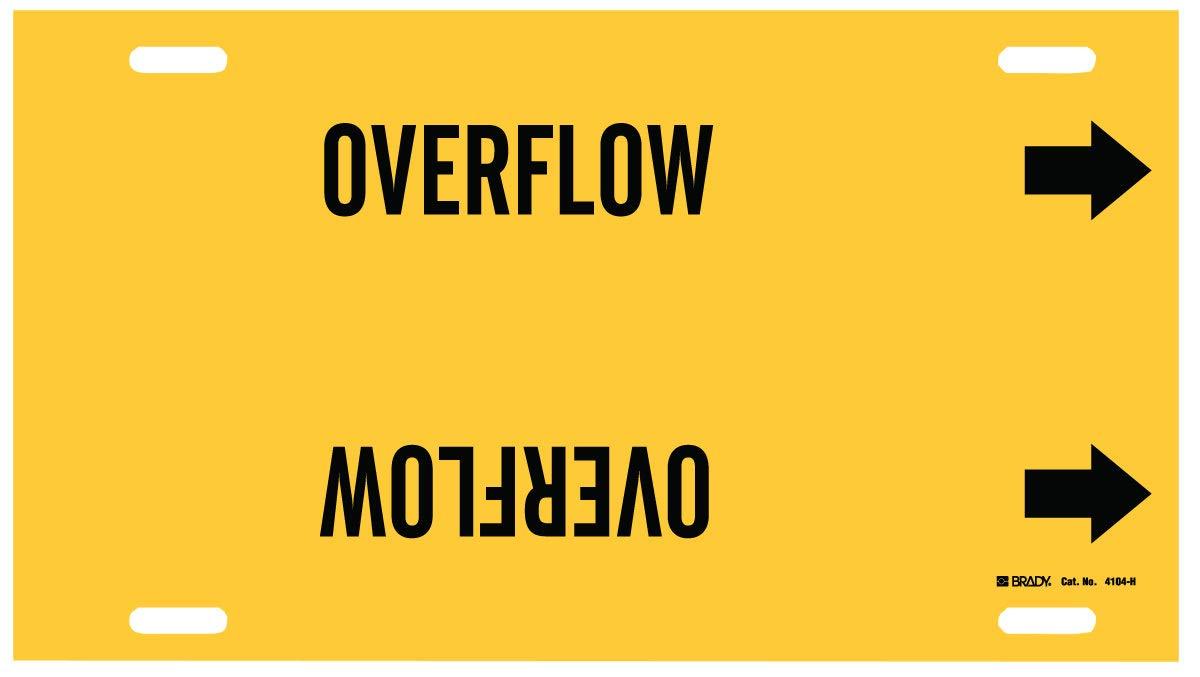 Brady 10'' X 32'' Black/Yellow Plastic Pipe Marker''OVERFLOW''