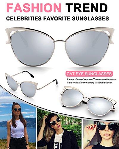 Oeil Métallique de Beams UV400 soleil 1 pour Miroir Mode GQUEEN femme de Argenté Twin Fashion cadre Chat Réfléchissantes cateye polarisé Lunettes Argenté Classique MS4 xa5AfwqY