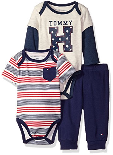 Tommy Hilfiger Baby Boys' Two Bodysuits and Pant Set, Gray, 6-9 Months