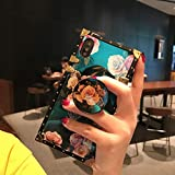 for iPhone Xs MAX 6.5' Newest Retro Blue Ray Rose Flower Glitter Skin Design TPU+ PU Leather Plating Square Corner Strong Back Case with Holder and Crossbody Strap (Rose, iPhone Xs max)