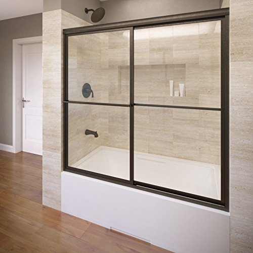 Basco Deluxe Framed Sliding Tub Door, Fits 56-59 inch opening, AquaglideXP Clear Glass, Oil Rubbed Bronze Finish