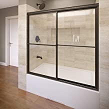 Basco Deluxe Framed Sliding Tub Door, Fits 56-59 inch opening, Clear Glass, Oil Rubbed Bronze Finish