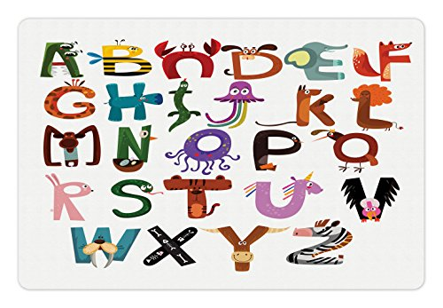 Lunarable ABC Kids Pet Mat for Food and Water, Funny Cartoon Children Alphabet with Elephant Fox Monkey Snake Animals Typography, Rectangle Non-Slip Rubber Mat for Dogs and Cats, Multicolor