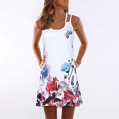 f9cd9373c8 Sunhusing Ladies Sling Strapless Flower Print Tank Top Dress Sleeveless  Mini A-Line Beach Sundress