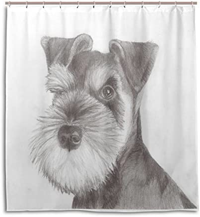 TJDY Miniature Schnauzer Puppy Waterproof Mouldproof Lengthen Shower Curtain 60x72(In)