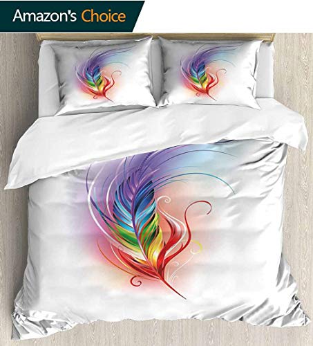 - shirlyhome Rainbow Home 3 Piece Print Quilt Set,Rainbow Feather Drawn in an Artistic Manner Cool Smooth Color Transition Fantastic with 2 Pillowcase for Kids Bedding 79