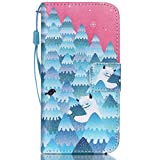 iPhone 5C Case,FlREFlSH Slim Synthetic Leather Wallets Detachable Protected Wallet Cover [Folio Flip] Wrist Strap [Kickstand ]Magnetic Case Credit Card Cover for Apple iPhone 5C-Snow Mountain