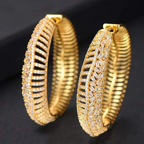 Luxury 3 Tone Cubic Zircon Big Hoop Earrings | for Women | Wedding's Dubai Bridal Round Circle Hoop Earrings