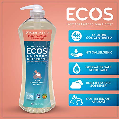 Earth Friendly Products Ecos 4X Ultra Concentrated Liquid Laundry Detergent, 200 Loads, 2 x 50 oz Magnolia & Lily (2Count) by Earth Friendly Products (Image #3)