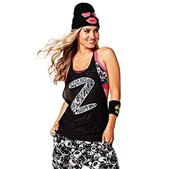 Zumba Meshed Up Tank Top (X-Small, Back to Black)