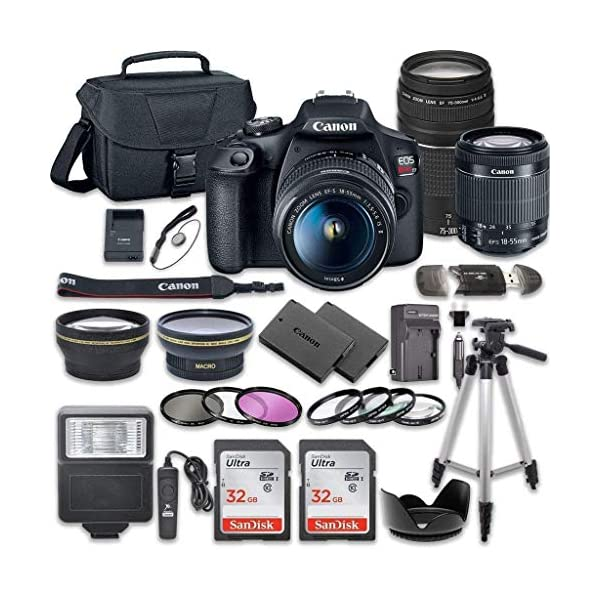 51FCag3W9pL. SS600 - Canon EOS Rebel T7 DSLR Camera Bundle with Canon EF-S 18-55mm f/3.5-5.6 is II Lens + Canon EF 75-300mm f/4-5.6 III Lens + 2pc SanDisk 32GB Memory Cards + Accessory Kit