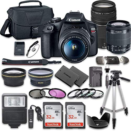 Canon EOS Rebel T7 DSLR Camera Bundle with Canon EF-S 18-55mm f/3.5-5.6 is II Lens + Canon EF 75-300mm f/4-5.6 III Lens + 2pc SanDisk 32GB Memory Cards + Accessory Kit (Best Small Canon Camera)