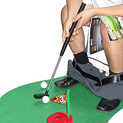Zebratown Toilet Golf Potty Putter Toilet Putting Mat Golf Game for Bathroom Mini Golf Training for Men's Toy Perfect Mini Golf Novelty Gag Gift Set