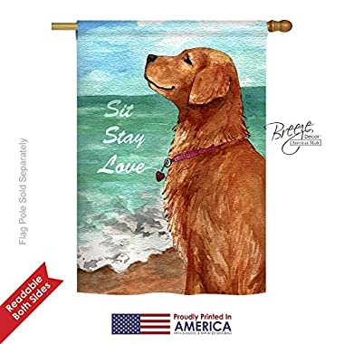 Sit Stay Love Golden Retriever Large Flag 28 inches by 40 inches