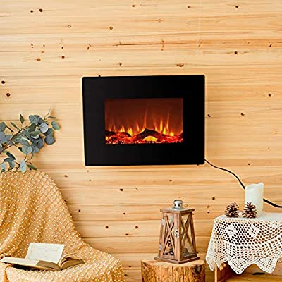 """FLAME&SHADE Electric Fireplace Heater Free Standing or Wall Mounted 10 LED Flame Backlight Colors Curved Panel with Remote Black 22"""""""