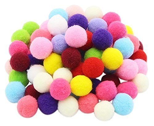 ZJlncpz Pompoms Craft Assorted Colors Acrylic Hobby Supplies 1 Inch Round Pack of 250 ()