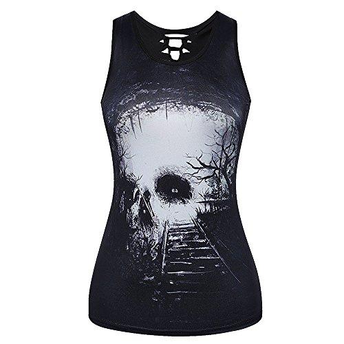 Women O Neck Bandage Printed V Neck Blouse Heated Vest Tank Top Top Clothes Black