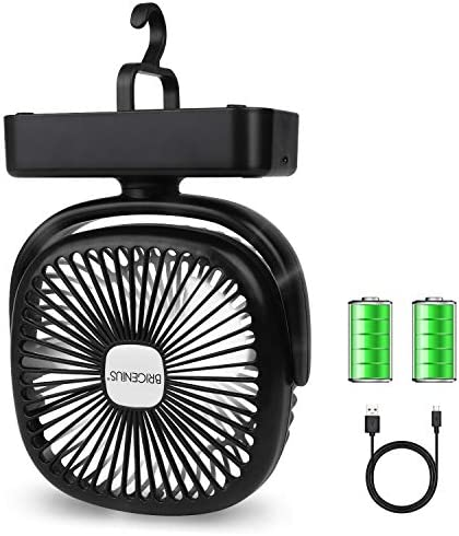 BRIGENIUS Camping Fan LED Lantern, Portable Mini Desk Fan USB Rechargeable 4400mAh Battery Operated Fan with Hook, 3 Speeds Personal Silent Tent Fan for Camping, Home Office